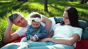Cute little girl surrounded by parents relaxing on green grass in summer park stock video footage