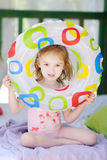 Cute little girl with a swim ring Royalty Free Stock Photos