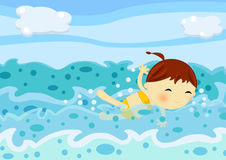 Cute little girl swimming among the sea waves. Illustration about a cute little girl swimming with joy through the waves of the ocean Stock Photos