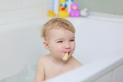 Cute little girl taking bath Royalty Free Stock Photography