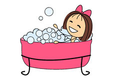 Cute little girl taking a bath Stock Images