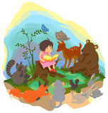 A cute little girl is teaching magic to animals in. The wood, create by vector Stock Photos