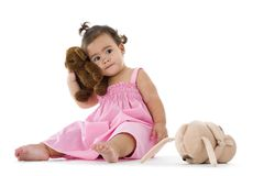 Cute little girl with teddy Royalty Free Stock Image