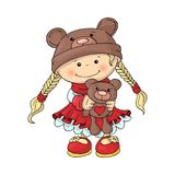 A cute little girl in a teddy bear hat in a smart red dress, with a teddy bear in her hands. stock illustration