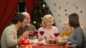 Cute little girl telling stories at Xmas dinner with family, everybody smiling. Stock footage stock footage