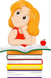 Cute little girl thinking while sitting on a pile of books Royalty Free Stock Photos