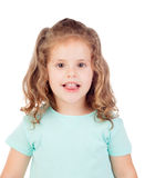 Cute little girl with three year old looking at camera showint h Royalty Free Stock Photography