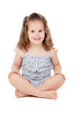 Cute little girl with three year old sitting on the floor Stock Photo