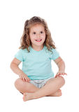 Cute little girl with three year old sitting on the floor Royalty Free Stock Photography