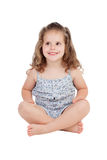Cute little girl with three year old sitting on the floor Stock Photos