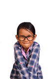 Cute Little Girl Tight Lip Smiling Stock Images