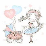 Cute little girl with a toy baby stroller with baby. Vector