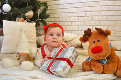Cute little girl and toy deer under the Christmas tree. Baby holding a gift in her hands Royalty Free Stock Photography