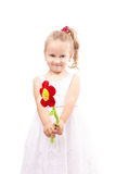 Cute little girl with toy flower isolated Stock Images