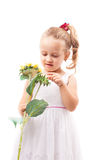 Cute little girl with toy flower isolated Royalty Free Stock Photo