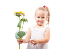 Cute little girl with toy flower isolated Royalty Free Stock Images
