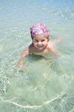 Cute little girl on tropical beach Royalty Free Stock Photography