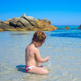 Cute little girl on tropical beach Royalty Free Stock Image