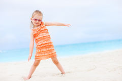 Cute little girl at tropical beach Royalty Free Stock Photo