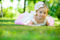 Cute little girl in tutu at park Royalty Free Stock Image