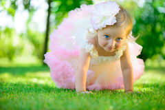 Cute little girl in tutu at park Royalty Free Stock Photography