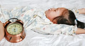 Cute little girl unwilling to wake up in the morning.  royalty free stock photos