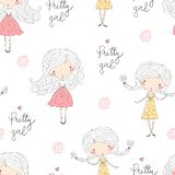 Cute little girl vector seamless pattern illustration stock images