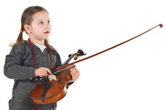 Cute little girl with violin Royalty Free Stock Image