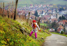 Cute little girl walking, autumn day Royalty Free Stock Images