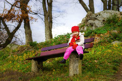 Cute little girl walking, autumn day Stock Photography