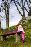 Cute little girl walking, autumn day Stock Photo