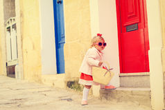 Cute little girl walking on the street of Malta Royalty Free Stock Photo