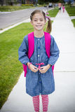 Cute Little Girl Walking to School Royalty Free Stock Photos