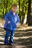 Cute little girl walks in the wood Stock Photos