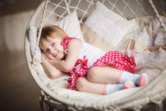 Cute little girl want to sleep Royalty Free Stock Image