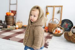 Cute little girl in warm clothes standing in white big room with pumpkins. Royalty Free Stock Photo