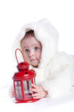 Cute little girl with a warm coat on Stock Photography