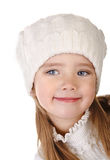 Cute little girl in warm hat isolated Stock Photos
