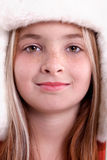 Cute little girl in warm hat Royalty Free Stock Images