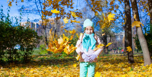 Cute little girl at warm sunny autumn day outdoor Stock Photography