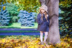 Cute little girl at warm sunny autumn day outdoor Royalty Free Stock Images