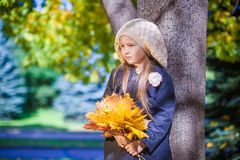 Cute little girl at warm sunny autumn day outdoor Royalty Free Stock Photos
