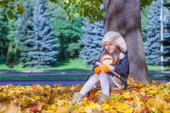 Cute little girl at warm sunny autumn day outdoor Stock Photo