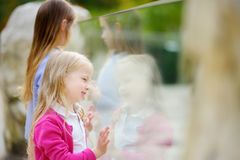 Cute little girl watching animals at the zoo on warm and sunny summer day. Child watching zoo animals through the window. Stock Photos