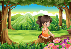 Cute little girl watching flowers at the forest Stock Illustration