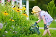 Cute little girl watering flowers in the garden at summer Stock Photography