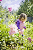 Cute little girl watering garden Stock Images