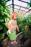 Cute little girl watering garden Stock Image