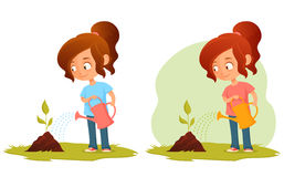 Cute little girl watering a plant Stock Photography