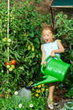 Cute little girl watering tomato and flowers in the backyard Royalty Free Stock Images